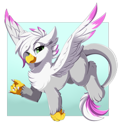 Size: 3109x3250 | Tagged: safe, artist:pridark, oc, oc only, oc:serena rosewing, griffon, chest fluff, commission, ear fluff, green eyes, griffon oc, high res, looking at you, smiling, solo