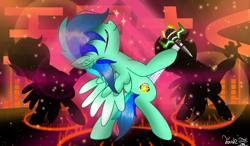 Size: 3000x1747 | Tagged: safe, artist:jadebreeze115, oc, oc only, oc:jade breeze, pegasus, adorasexy, audio spectrum, base used, bipedal, blue eyes, blue hair, colored wings, cute, dance floor, dancing, ear fluff, ethereal mane, gradient wings, japanese, male, microphone, pegasus oc, sexy, shadow, smiling, solo, stallion, starry mane, wings