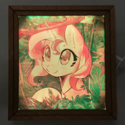 Size: 1920x1921 | Tagged: safe, artist:themisto97, sunset shimmer, pony, unicorn, acrylic plastic, acrylight, bust, craft, cute, daaaaaaaaaaaw, engraving, female, jewelry, jungle, lasercut, led, mare, multicolored, necklace, nightlight, photo, portrait, shimmerbetes, smiling, solo, sweet dreams fuel