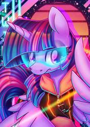 Size: 1600x2264 | Tagged: safe, artist:musicfirewind, twilight sparkle, alicorn, pony, clothes, crossover, cyberpunk, cyberpunk 2077, glasses, solo, twilight sparkle (alicorn)