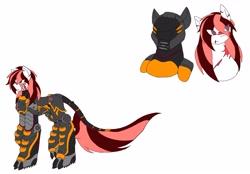 Size: 4935x3433   Tagged: safe, artist:kurogetsuouji, oc, oc only, oc:beast, oc:oath breaker, pony, armor, helmet, male, power armor, powered exoskeleton, scar, simple background, solo, stallion, white background