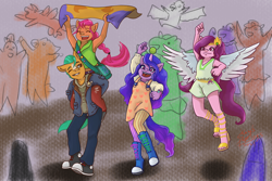 Size: 1772x1181 | Tagged: safe, artist:shacy's pagelings, hitch trailblazer, izzy moonbow, pipp petals, sunny starscout, earth pony, pegasus, pony, unicorn, anthro, plantigrade anthro, g5, armpits, bag, ball, boots, braid, clothes, converse, eyes closed, feet, female, high heels, horn, horn guard, horn impalement, hornball, izzy's tennis ball, jacket, male, one eye closed, open mouth, open-toed shoes, pants, shoes, skirt, spread wings, standing, tennis ball, toes, wings