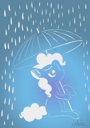 Size: 1531x2158 | Tagged: safe, artist:lshbz, pinkie pie, earth pony, pony, blue background, craft, cut paper, ear fluff, female, mare, papercraft, rain, simple background, solo, unbrella