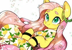 Size: 2480x1747 | Tagged: safe, artist:potetecyu_to, fluttershy, pegasus, pony, clothes, cute, daaaaaaaaaaaw, dress, female, flower, food, kimono (clothing), lemon, lily (flower), mare, shyabetes, solo