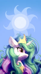 Size: 1280x2323 | Tagged: safe, artist:lilclim, princess celestia, alicorn, pony, bust, canon, caption, crown, cute, day, eyes open, fanart, female, high res, jewelry, long hair, portrait, profile, regalia, side view, sky, smiling, solo, sun