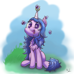 Size: 1250x1250 | Tagged: safe, artist:thunder s arts, derpibooru exclusive, izzy moonbow, butterfly, pony, unicorn, g5, my little pony: a new generation, ball, chest fluff, colored pupils, cute, female, grass, horn, horn guard, horn impalement, hornball, izzy's tennis ball, izzybetes, mare, open mouth, simple background, sitting, sky, smiling, solo, tennis ball