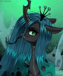 Size: 2500x3000 | Tagged: safe, artist:hakkerman5, queen chrysalis, changeling, changeling queen, bust, female, long tongue, looking at you, solo, tongue out