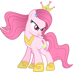 Size: 1401x1360 | Tagged: safe, artist:muhammad yunus, oc, oc only, oc:annisa trihapsari, earth pony, pony, series:the return of annisa, angry, base used, earth pony oc, female, hair, hairstyle, mare, pink body, pink hair, princess, royal guard, simple background, solo, transparent background, unamused, vector