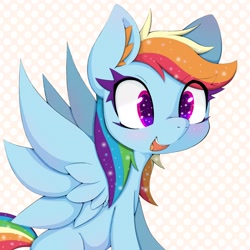 Size: 2048x2048 | Tagged: safe, artist:zokkili, rainbow dash, pegasus, pony, abstract background, blushing, cute, dashabetes, ear fluff, female, high res, mare, open mouth, sitting, solo, spread wings, wings