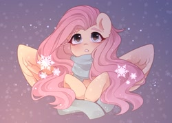 Size: 2500x1800   Tagged: safe, artist:whiteliar, fluttershy, pegasus, pony, blushing, bust, chest fluff, clothes, cute, daaaaaaaaaaaw, ear fluff, female, high res, mare, open mouth, scarf, shyabetes, snow, snowfall, snowflake, solo, spread wings, wings