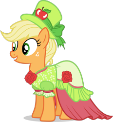 Size: 3500x3774 | Tagged: safe, artist:ambassad0r, applejack, earth pony, pony, make new friends but keep discord, clothes, dress, female, gala dress, mare, simple background, solo, transparent background, vector