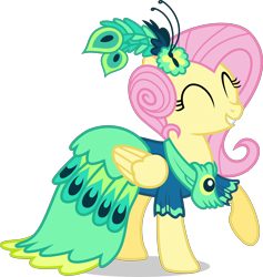 Size: 3500x3687 | Tagged: safe, artist:ambassad0r, fluttershy, pegasus, pony, clothes, dress, eyes closed, female, gala dress, grin, mare, raised hoof, simple background, smiling, solo, transparent background, vector