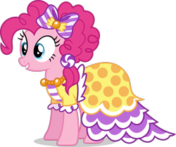 Size: 4191x3500 | Tagged: safe, artist:ambassad0r, pinkie pie, earth pony, pony, clothes, dress, female, gala dress, mare, simple background, solo, transparent background, vector