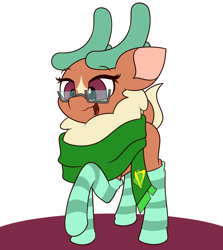 Size: 4000x4494   Tagged: safe, artist:mrneo, cashmere (tfh), deer, reindeer, them's fightin' herds, clothes, glasses, scarf, socks, solo