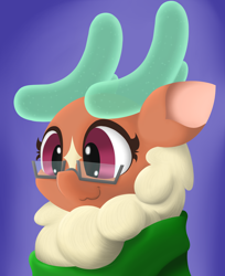 Size: 2656x3250   Tagged: safe, artist:mrneo, cashmere (tfh), deer, reindeer, them's fightin' herds, bust, clothes, community related, glasses, scarf, solo