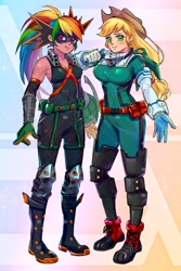 Size: 1365x2048 | Tagged: safe, artist:w33484365, applejack, rainbow dash, human, clothes, costume, crossover, duo, female, humanized, izuku midoriya, katsuki bakugou, my hero academia