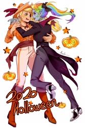 Size: 1181x1772 | Tagged: safe, artist:卯卯七, applejack, rainbow dash, human, vampire, 2020, alternate hairstyle, appledash, clothes, costume, elf ears, eyepatch, female, halloween, halloween costume, holiday, humanized, jack-o-lantern, lesbian, pirate, pony coloring, ponytail, pumpkin, shipping
