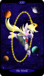 Size: 1500x2591   Tagged: safe, artist:sixes&sevens, part of a set, dinky hooves, unicorn, clothes, doctor who, female, glowing horn, horn, jumping, major arcana, mouth hold, older, older dinky hooves, planet, solo, sonic screwdriver, space, stars, tarot card, the world