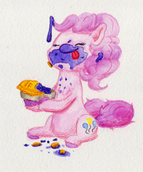 Size: 1516x1822 | Tagged: safe, artist:lost marbles, pinkie pie, earth pony, pony, crumbs, cute, daaaaaaaaaaaw, diapinkes, eyes closed, female, food, hnnng, mare, messy eating, pi day, pie, simple background, smiling, tongue out, traditional art, white background