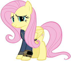 Size: 1280x1104   Tagged: safe, artist:andoanimalia, artist:ponygamer2020, fluttershy, pegasus, pony, fallout equestria, clothes, cute, fallout, female, jumpsuit, mare, pipboy, simple background, solo, transparent background, vault suit, vector