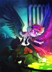 Size: 2509x3504 | Tagged: safe, artist:vetamina, rainbow dash, scootaloo, human, fanfic:rainbow factory, blood, fanfic art, humanized