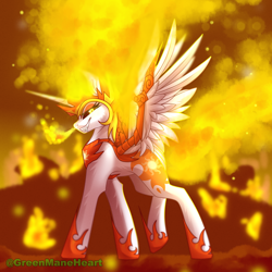 Size: 3000x3000 | Tagged: safe, artist:greenmaneheart, daybreaker, alicorn, pony, evil grin, fangs, female, fire, grin, high res, mane of fire, mare, profile, smiling, solo