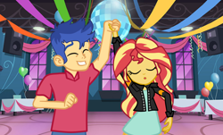 Size: 1268x768   Tagged: safe, artist:3d4d, artist:gmaplay, flash sentry, sunset shimmer, equestria girls, dancing, female, flashimmer, male, shipping, straight