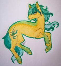 Size: 1920x2081 | Tagged: safe, artist:oneiria-fylakas, sandbar, pony, alternate design, solo, traditional art