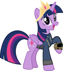 Size: 1024x1157 | Tagged: safe, artist:alandssparkle, artist:ponygamer2020, twilight sparkle, alicorn, pony, fallout equestria, clothes, crown, fallout, female, jewelry, jumpsuit, looking at you, open mouth, pipboy, raised hoof, regalia, simple background, solo, transparent background, twilight sparkle (alicorn), vault suit, vector
