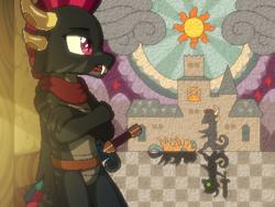Size: 800x600 | Tagged: safe, artist:rangelost, oc, oc only, oc:smoke, oc:trailblazer, dragon, earth pony, cyoa:d20 pony, cyoa, dragon oc, duo, earth pony oc, offscreen character, pixel art, story included, sun, sword, weapon