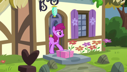 Size: 1920x1080 | Tagged: safe, screencap, berry punch, berryshine, earth pony, pony, season 5, the one where pinkie pie knows, background pony, female, mare, package, present, solo, unsure