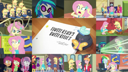 Size: 1280x721   Tagged: safe, edit, edited screencap, editor:quoterific, screencap, apple bloom, applejack, big macintosh, dj pon-3, fluttershy, pinkie pie, rainbow dash, rarity, sci-twi, scootaloo, sunset shimmer, sweetie belle, twilight sparkle, vinyl scratch, bird, butterfly, chicken, equestria girls, equestria girls series, fluttershy's butterflies, apple bloom's bow, applejack's hat, belt, boots, bow, bowtie, canterlot high, choose your own ending (season 1), clothes, converse, cowboy boots, cowboy hat, cutie mark, cutie mark crusaders, cutie mark on clothes, denim skirt, duo, duo female, eyes closed, female, fluttershy's butterflies: applejack, fluttershy's butterflies: dj pon-3, fluttershy's butterflies: rainbow dash, food, geode of empathy, geode of fauna, geode of shielding, geode of super speed, geode of super strength, geode of telekinesis, glasses, hair bow, hairpin, hand on hip, hat, headphones, high heels, hoodie, humane five, humane seven, humane six, jackletree, lockers, magical geodes, male, multeity, open mouth, popcorn, poster, rarity peplum dress, rear view, rock, sad, sandals, self paradox, shocked, shoes, skirt, trio, trio female, wall of tags