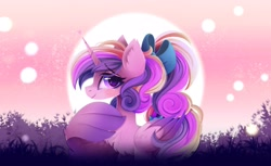 Size: 3600x2200 | Tagged: safe, artist:liquorice_sweet, princess cadance, alicorn, pony, bow, chest fluff, ear fluff, female, hair bow, looking at you, smiling, smiling at you, solo