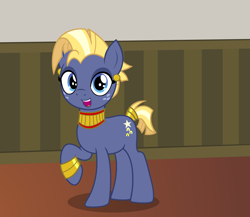 Size: 2488x2164 | Tagged: safe, alternate version, artist:badumsquish, derpibooru exclusive, part of a set, star tracker, pony, unicorn, once upon a zeppelin, clothes, cosplay, costume, crossdressing, crossplay, cute, ear piercing, earring, egyptian, egyptian pony, eyeshadow, freckles, grin, happy, jewelry, looking at you, makeup, male, open mouth, piercing, pose, raised hoof, show accurate, smiling, solo, stallion, starcrossed, trackerbetes