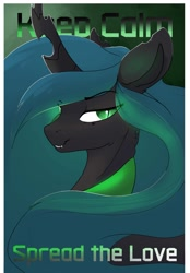 Size: 2442x3500   Tagged: safe, artist:therealf1rebird, queen chrysalis, changeling, changeling queen, female, horn, keep calm, looking at you, mare, solo