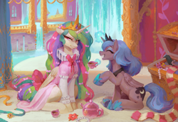 Size: 3931x2704 | Tagged: safe, artist:orchidpony, princess celestia, princess luna, alicorn, pony, :t, bow, celestia is not amused, clothes, cup, dress, duo, duo female, embarrassed, eyes closed, female, grin, hair bow, high res, princess luna is amused, royal sisters, ruff (clothing), siblings, sisters, sitting, smiling, tail bow, tea party, teacup, teapot, unamused, waterfall