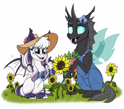 Size: 5439x4784   Tagged: safe, artist:celestial-rainstorm, oc, oc only, oc:orchid, oc:sweet dreams, bat pony, changeling, pony, absurd resolution, clothes, flower, magic, overalls, sunflower