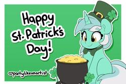 Size: 3544x2362   Tagged: safe, artist:partylikeanartist, lucky clover, lyra heartstrings, pony, unicorn, bowtie, cauldron, clover, eye clipping through hair, eyebrows, eyebrows visible through hair, four leaf clover, holiday, leprechaun, leprechaun hat, meme, pot of gold, saint patrick's day, simple background, sitting, sitting lyra, solo, st patricks, text