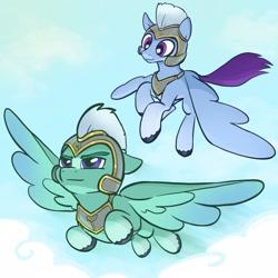 Size: 2048x2048 | Tagged: safe, artist:pfeffaroo, zoom zephyrwing, pegasus, pony, g5, armor, cloud, floppy ears, flying, guard, male, sky, spread wings, stallion, unshorn fetlocks, wings