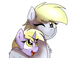 Size: 3300x2550   Tagged: safe, artist:breebree, derpy hooves, dinky hooves, pegasus, pony, unicorn, equestria's best mother, female, filly, happy, like mother like daughter, like parent like child, mare, mother and child, mother and daughter, simple background, transparent background