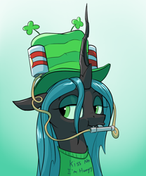 Size: 1000x1200 | Tagged: safe, artist:rocket-lawnchair, queen chrysalis, changeling, changeling queen, clothes, clover, drinking hat, female, four leaf clover, hat, holiday, saint patrick's day, shirt