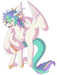 Size: 2136x2808 | Tagged: safe, artist:delzol, oc, oc:renaissance, draconequus, hybrid, draconequus hybrid, draconequus oc, interspecies offspring, male, offspring, parent:discord, parent:princess celestia, parents:dislestia, simple background, solo, transparent background