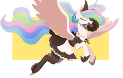 Size: 1200x759 | Tagged: safe, artist:ncmares, princess celestia, alicorn, pony, abstract background, clothes, cute, cutelestia, duster, eyes closed, female, flying, maid, maidlestia, majestic, mare, mouth hold, skirt, solo, spread wings, stockings, thigh highs, wings