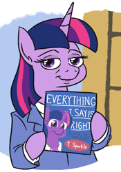 Size: 452x647   Tagged: safe, artist:jargon scott, twilight sparkle, alicorn, pony, book, clothes, female, looking at you, mare, sliders, solo, suit, twilight sparkle (alicorn)