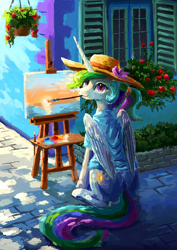 Size: 764x1080 | Tagged: safe, artist:plainoasis, princess celestia, alicorn, pony, alternate hairstyle, clothes, cute, cutelestia, easel, hat, mouth hold, paintbrush, painting, ponytail, shirt, solo