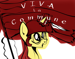 Size: 1275x992 | Tagged: safe, artist:aaronmk, oc, oc only, oc:lefty pony, pony, unicorn, communism, female, flag, freckles, glasses, magic, mare, simple background, solo, text, white background