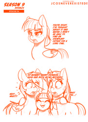 Size: 742x1024 | Tagged: safe, artist:jcosneverexisted, clear sky, rainbow dash, wind sprint, pegasus, pony, common ground, cleardash, dialogue, female, mare, season 9 doodles, surprised