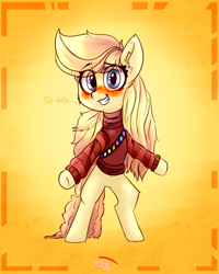 Size: 1000x1250 | Tagged: safe, artist:mjsw, oc, oc only, earth pony, pony, blushing, clothes, female, mare, smiling, solo