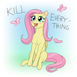 Size: 1000x1000 | Tagged: safe, artist:arareroll, fluttershy, butterfly, pegasus, pony, blush sticker, blushing, cute, dissonant caption, female, mare, open mouth, pure unfiltered evil, shyabetes, sitting, smiling, solo, text