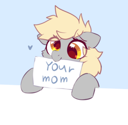 Size: 496x483 | Tagged: safe, artist:mirtash, edit, derpy hooves, pegasus, pony, blue background, cute, derpabetes, female, heart, mare, mouth hold, sign, simple background, smiling, solo, your mom
